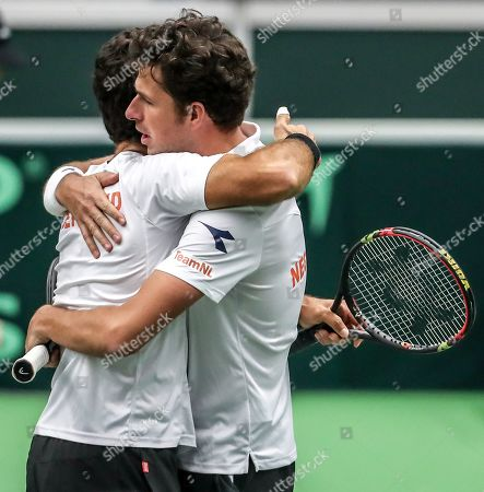 Robin Haase (R) and Jean-Julien Rojer (L) of the Netherlands celebrate after winning against Lukas Rosol and Jiri Vesely of Czech Republic during the Davis Cup qualifier  between Czech Repubic and the Netherlands in Ostrava, Czech Republic, 02 February 2019.
