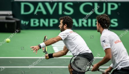 Robin Haase (R) and Jean-Julien Rojer (L) of the Netherlands in action against Lukas Rosol and Jiri Vesely of Czech Republic during the Davis Cup qualifier  between Czech Repubic and the Netherlands in Ostrava, Czech Republic, 02 February 2019.