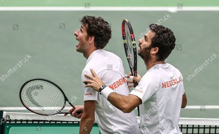 Robin Haase (L) and Jean-Julien Rojer (R) of the Netherlands discuss with referee in match against Lukas Rosol and Jiri Vesely of Czech Republic during the Davis Cup qualifier between Czech Repubic and the Netherlands in Ostrava, Czech Republic, 02 February 2019.
