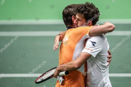 Team captain Paul Haarhuis (L) and Robin Haase (R) of the Netherlands celebrate after winning against Lukas Rosol and Jiri Vesely of Czech Republic during the Davis Cup qualifier between Czech Repubic and the Netherlands in Ostrava, Czech Republic, 02 February 2019.
