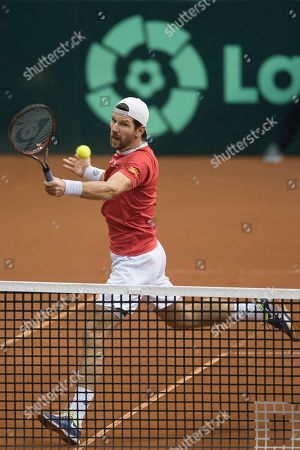 Juergen Melzer of Austria in action against Marcelo Tomas Barrios Vera and Hans Podlipnik-Castillo of Chile during the Davis Cup qualifier between Austria and Chile in Salzburg, Austria 02, February 2019.