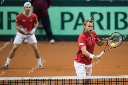Juergen Melzer (L) and Oliver Marach (R) of Austria in action against Marcelo Tomas Barrios Vera and Hans Podlipnik-Castillo of Chile during the Davis Cup qualifier between Austria and Chile in Salzburg, Austria 02, February 2019.