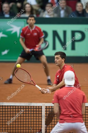 Hans Podlipnik-Castillo of Chile (back L) and Marcelo Tomas Barrios Vera (back R) of Chile in action against Juergen Melzer and Oliver Marach of Austria during the Davis Cup qualifier between Austria and Chile in Salzburg, Austria 02, February 2019.