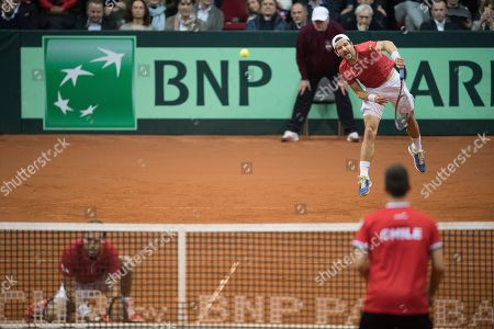 Oliver Marach (back L) and Juergen Melzer (back R) of Austria in action in their match against Marcelo Tomas Barrios Vera and Hans Podlipnik-Castillo of Chile during the Davis Cup qualifier between Austria and Chile in Salzburg, Austria 02, February 2019.