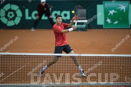 Marcelo Tomas Barrios Vera of Chile in action against Juergen Melzer and Oliver Marach of Austria during the Davis Cup qualifier between Austria and Chile in Salzburg, Austria 02, February 2019.