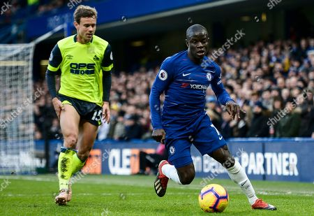 N'Golo Kante of Chelsea and Chris Lowe of Huddersfield Town