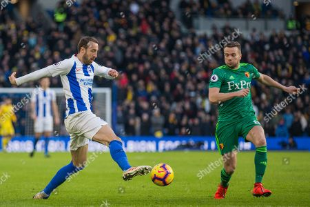 Glenn Murphy (Brighton) & Tom Cleverley (Watford) during the Premier League match between Brighton and Hove Albion and Watford at the American Express Community Stadium, Brighton and Hove