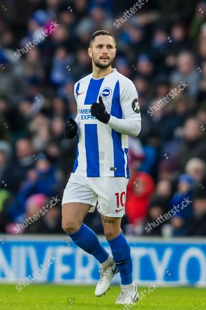 Florin Andone (Brighton) coming on as a substitute for Glenn Murphy (Brighton) during the Premier League match between Brighton and Hove Albion and Watford at the American Express Community Stadium, Brighton and Hove