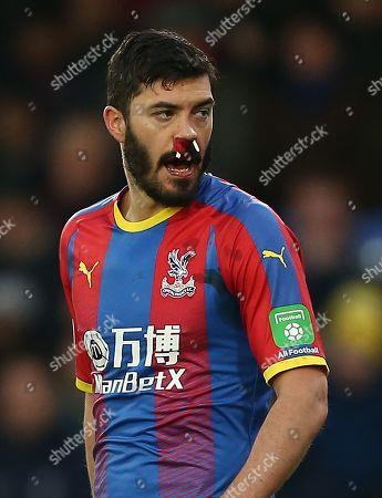 James Tomkins of Crystal Palace  injured
