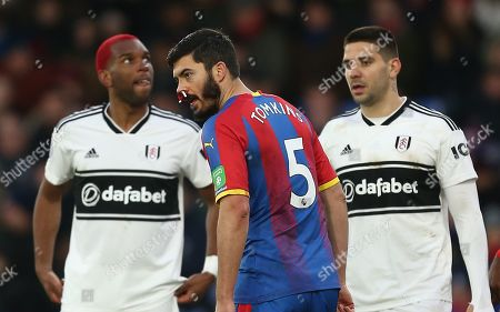 James Tomkins of Crystal Palace  bleeds for his nose