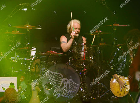 Joey Kramer with Aerosmith performs during the Bud Light Super Bowl Music Fest Day 2 at State Farm Arena, in Atlanta