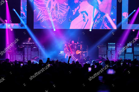 Stock Picture of Steven Tyler, Tom Hamilton, Joey Kramer, Joe Perry, Brad Whitford. Steven Tyler, Tom Hamilton, Joey Kramer, Joe Perry and Brad Whitford with Aerosmith performs during the Bud Light Super Bowl Music Fest Day 2 at State Farm Arena, in Atlanta