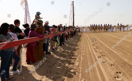 Tourists watch a camel race held as part of the Sultan Bin Zayed Heritage Festival in the desert at Sweihan, in Al-Ain, United Arab Emirates, 02 February 2019. The Sultan festival is part of efforts to revive and safeguard the age-old tradition of camel and saluki sports, which is considered an integral part of the UAE and Gulf heritage. The event features traditional camel races and camel beauty contests in addition to the traditional souq (a camel auction), saluki race and competitions for traditional handicrafts, the festival is under patronage of HH Sheikh Sultan bin Zayed Al Nahyan, the President's Representative and Chairman of the Emirates Heritage Club (EHC).