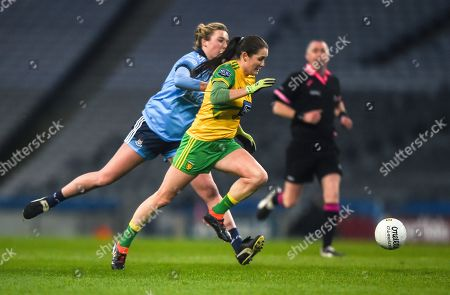 Dublin vs Donegal. Donegal's Katy Herron with Jennifer Dunne of Dublin