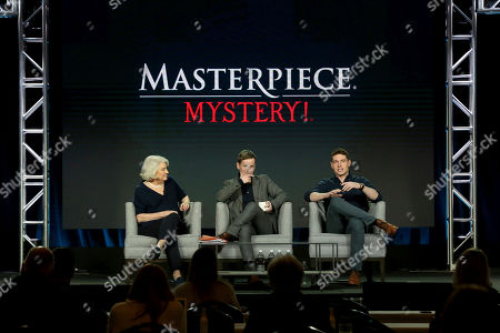 Rebecca Eaton, Shaun Evans, Tom Brittney. Rebecca Eaton, from left, Shaun Evans and Tom Brittney participate in the Masterpiece 'Mystery!' panel during the PBS presentation at the Television Critics Association Winter Press Tour at The Langham Huntington, in Pasadena, Calif
