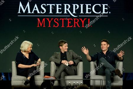Stock Image of Rebecca Eaton, Shaun Evans, Tom Brittney. Rebecca Eaton, from left, Shaun Evans and Tom Brittney participate in the Masterpiece 'Mystery!' panel during the PBS presentation at the Television Critics Association Winter Press Tour at The Langham Huntington, in Pasadena, Calif