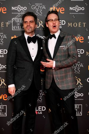 Spanish humorists Ernesto Sevilla (L) and Joaquin Reyes (R) pose at the red carpet of the 33rd Goya Awards, celebrated at the Conference Centre, in Seville, southern Spain, 02 February 2019. The awards are presented by the Spanish Film Academy.