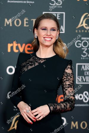 Manuela Velles poses at the red carpet of the 33rd Goya Awards, celebrated at the Conference Centre, in Seville, southern Spain, 02 February 2019. The awards are presented by the Spanish Film Academy.