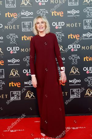 Stock Picture of Susi Sanchez arrives for the 33rd Goya Awards ceremony at the Conference Centre in Seville, Spain, 02 February 2019. The awards are presented by the Spanish Film Academy.