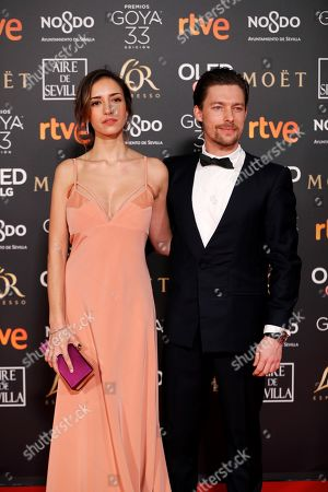 Spanish actors Tabata Cerezo (L) and Jan Cornet (R) arrive for the 33rd Goya Awards ceremony at the Conference Centre in Seville, Spain, 02 February 2019. The awards are presented by the Spanish Film Academy.