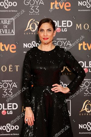 Toni Acosta poses at the red carpet of the 33rd Goya Awards, celebrated at the Conference Centre, in Seville, southern Spain, 02 February 2019. The awards are presented by the Spanish Film Academy.