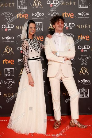 Macarena Gomez (L) and actor Aldo Comas (R) pose at the red carpet of the 33rd Goya Awards, celebrated at the Conference Centre, in Seville, southern Spain, 02 February 2019. The awards are presented by the Spanish Film Academy.