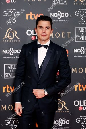 Alex Gonzalez poses at the red carpet of the 33rd Goya Awards, celebrated at the Conference Centre, in Seville, southern Spain, 02 February 2019. The awards are presented by the Spanish Film Academy.