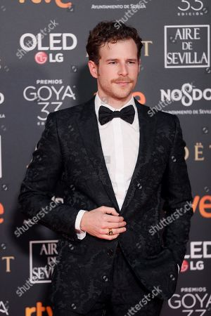 Alvaro Cervantes poses at the red carpet of the 33rd Goya Awards, celebrated at the Conference Centre, in Seville, southern Spain, 02 February 2019. The awards are presented by the Spanish Film Academy.