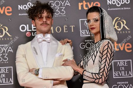 Aldo Comas (L) and actress Macarena Gomez (R) pose at the red carpet of the 33rd Goya Awards, celebrated at the Conference Centre, in Seville, southern Spain, 02 February 2019. The awards are presented by the Spanish Film Academy.