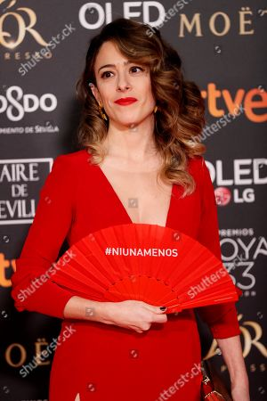 Andrea Jaurrieta poses at the red carpet of the 33rd Goya Awards, celebrated at the Conference Centre, in Seville, southern Spain, 02 February 2019. The awards are presented by the Spanish Film Academy.
