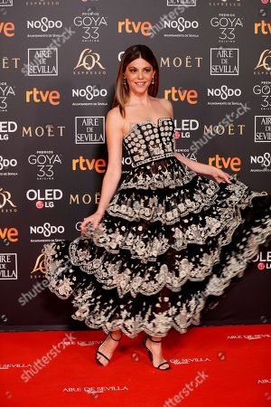 Manuela Velasco poses at the red carpet of the 33rd Goya Awards, celebrated at the Conference Centre, in Seville, southern Spain, 02 February 2019. The awards are presented by the Spanish Film Academy.