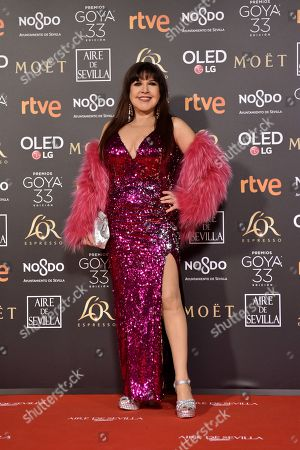 Loles Leon poses at the red carpet of the 33rd Goya Awards, celebrated at the Conference Centre, in Seville, southern Spain, 02 February 2019. The awards are presented by the Spanish Film Academy.