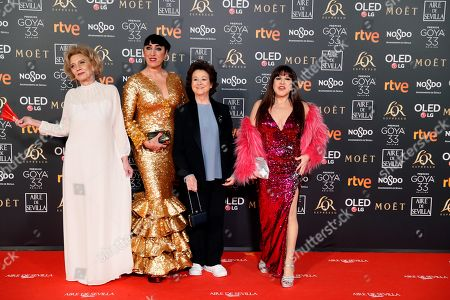 Marisa Paredes, Rossy de Palma, Julieta Serrano and Loles Leon pose at the red carpet of the 33rd Goya Awards, celebrated at the Conference Centre, in Seville, southern Spain, 02 February 2019. The awards are presented by the Spanish Film Academy.