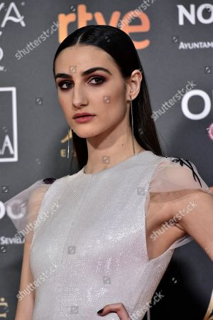 Sandra Escacena poses at the red carpet of the 33rd Goya Awards, celebrated at the Conference Centre, in Seville, southern Spain, 02 February 2019. The awards are presented by the Spanish Film Academy.