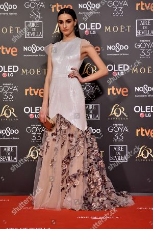 Stock Photo of Sandra Escacena poses at the red carpet of the 33rd Goya Awards, celebrated at the Conference Centre, in Seville, southern Spain, 02 February 2019. The awards are presented by the Spanish Film Academy.
