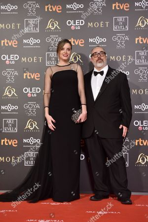 Alex de la Iglesia (R) and actress Carolina Bang (L) pose at the red carpet of the 33rd Goya Awards, celebrated at the Conference Centre, in Seville, southern Spain, 02 February 2019. The awards are presented by the Spanish Film Academy.