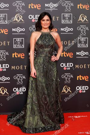 Spanish journalist Elena Sanchez arrives for the 33rd Goya Awards ceremony at the Conference Centre in Seville, Spain, 02 February 2019. The awards are presented by the Spanish Film Academy.