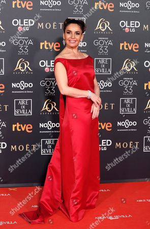 Blanca Marsillach arrives for the 33rd Goya Awards ceremony at the Conference Centre in Seville, Spain, 02 February 2019. The awards are presented by the Spanish Film Academy.