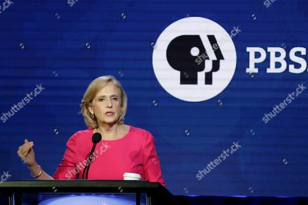 President and CEO of PBS Paula Kerger speaks during the PBS Executive Session at the Television Critics Association Winter Press Tour at The Langham Huntington, in Pasadena, Calif