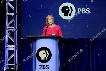 Stock Photo of President and CEO of PBS Paula Kerger speaks during the PBS Executive Session at the Television Critics Association Winter Press Tour at The Langham Huntington, in Pasadena, Calif