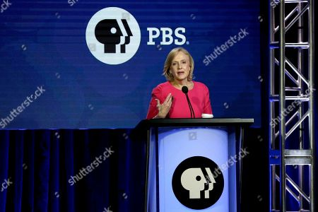 Stock Picture of President and CEO of PBS Paula Kerger speaks during the PBS Executive Session at the Television Critics Association Winter Press Tour at The Langham Huntington, in Pasadena, Calif