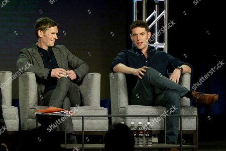 Shaun Evans, Tom Brittney. Shaun Evans, left, and Tom Brittney participate in the Masterpiece 'Mystery!' panel during the PBS presentation at the Television Critics Association Winter Press Tour at The Langham Huntington, in Pasadena, Calif