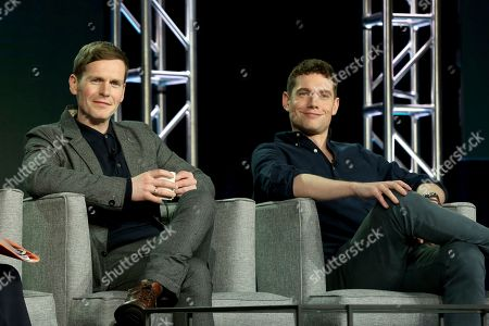 Stock Photo of Shaun Evans, Tom Brittney. Shaun Evans, left, and Tom Brittney participate in the Masterpiece 'Mystery!' panel during the PBS presentation at the Television Critics Association Winter Press Tour at The Langham Huntington, in Pasadena, Calif