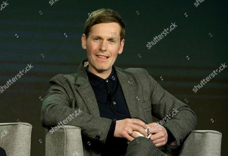 Shaun Evans, member of the cast of 'Endeavour' participates in the Masterpiece 'Mystery!' panel during the PBS presentation at the Television Critics Association Winter Press Tour at The Langham Huntington, in Pasadena, Calif