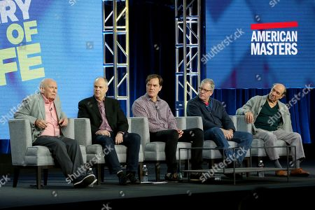 Stock Image of Terrence McNally, Michael Kantor, Michael Shannon, Jeff Kaufman, F. Murray Abraham. Terrence McNally, from left, Michael Kantor, Michael Shannon, Jeff Kaufman and F. Murray Abraham participate in the American Masters Series 'Terrence McNAlly: Every Act of Life' panel during the PBS presentation at the Television Critics Association Winter Press Tour at The Langham Huntington, in Pasadena, Calif
