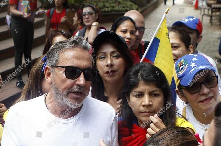 Venezuelan singer and songwriter Ricardo Montaner participates in a protest to support President of the Venezuelan National Assembly Juan Guaido, in Medellin, Colombia, 02 February 2019. Guaido had declared himself interim president of Venezuela on 23 January and promised to guide the country toward new election, as he consider the May 2018 election not valid.