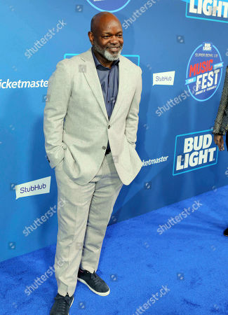 Emmitt Smith arrives during the Bud Light Super Bowl Music Fest Day 2 at State Farm Arena, in Atlanta