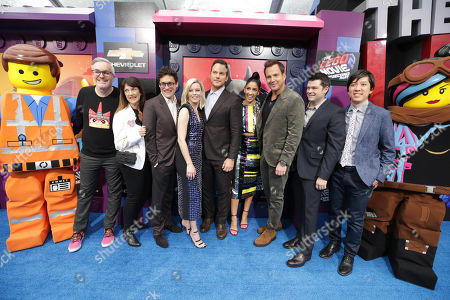 Emmet, Matthew Ashton, Executive Producer, Jill Wilfert, Executive Producer, Phil Lord, Writer/Producer, Elizabeth Banks, Chris Pratt, Stephanie Beatriz, Christopher Miller, Writer/Producer, Dan Lin, Producer, Wyldstyle