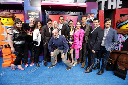 Emmet, Trisha Gum, Animation Director, Matthew Ashton, Executive Producer, Jill Wilfert, Executive Producer, Phil Lord, Writer/Producer, Elizabeth Banks, Chris Pratt, Mike Mitchell, Director, Stephanie Beatriz, Alison Brie, Will Arnett, Christopher Miller, Writer/Producer, Dan Lin, Producer, Wyldstyle