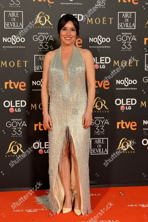 Stock Image of Spanish actress Lola Duenas poses for photographers on the red carpet ahead of the Goya Film Awards Ceremony in Seville, Spain